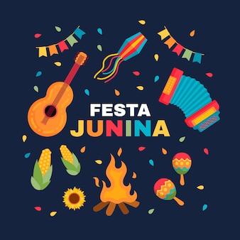 Плоская иллюстрация festa junina
