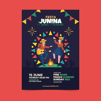 Flat festa junina poster illustrated