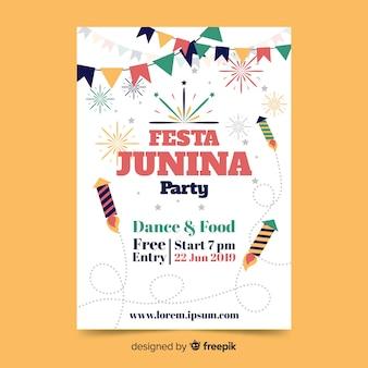 Flat festa junina poster template