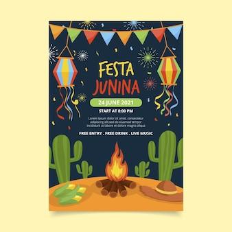 Flat festa junina vertical poster template