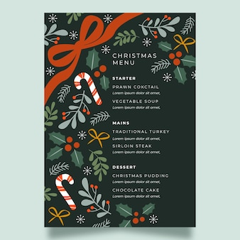 Flat festive christmas restaurant menu template