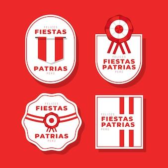 Flat fiestas patrias de peru badge collection