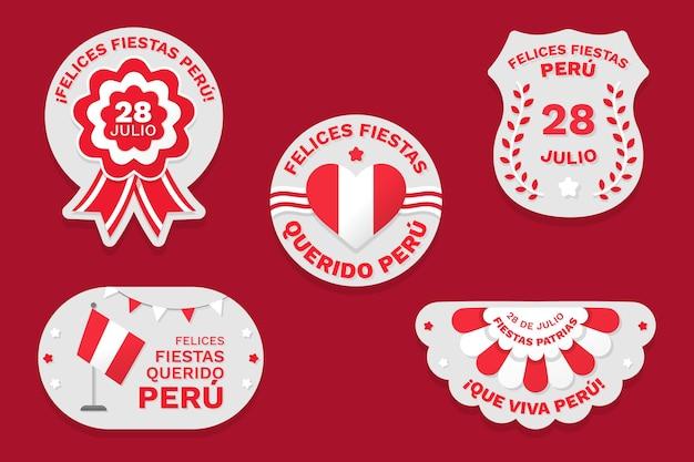 Плоские fiesta patrias de peru badge collection