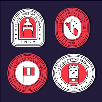Плоские fiestas patrias de peru badge collection
