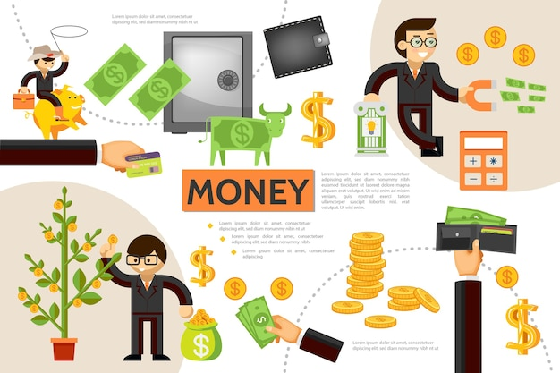 Flat finance infographic concept with money tree gold coins wallet safe business people dollar cow payment card