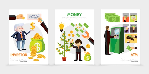 Flat finance and investment vertical banners with businessman near atm financial check magnet coins money tree cash icons illustration