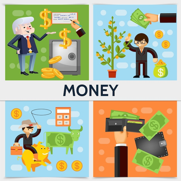Flat finance square concept with businessmen safe money tree dollar cow calculator wallet bag of coins