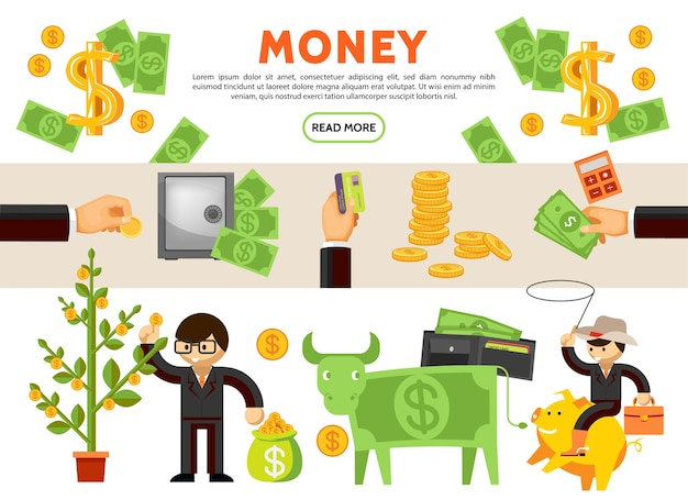 Плоские финансовые иконки коллекция с денежным деревом корова наличные монеты безопасный кошелек бизнесмен ковбой, сидя на копилке