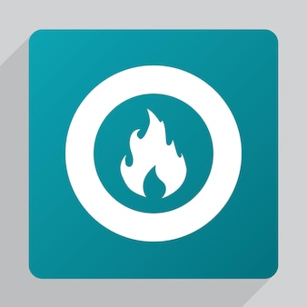 Flat fire icon, white on green background