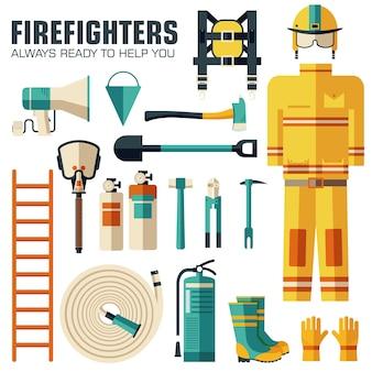 平らな消防士のユニフォームと最初のヘルプ機器セットと楽器