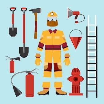 Плоская форма пожарного и оборудование инструментов. огнетушитель, хазмат и перчатки, замедлитель и громкоговоритель.