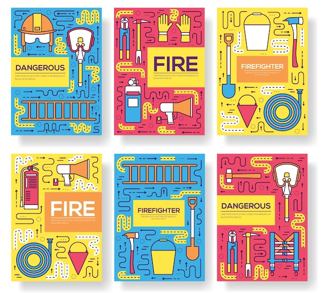 Flat firefighter uniform cards thin line set. first help template of flyear, magazines, posters.