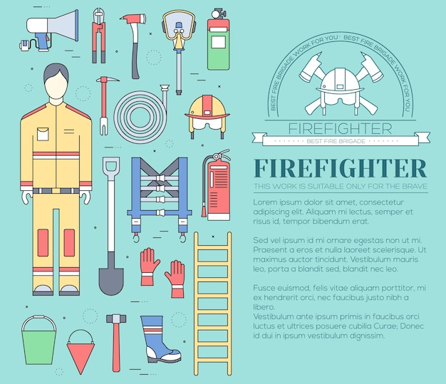 Flat firefighter uniform and first help equipment set and instruments Premium Vector