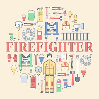 Flat firefighter uniform and first help equipment set and instruments
