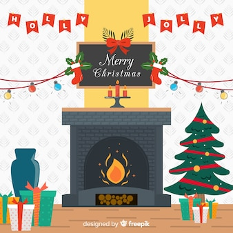 Flat fireplace christmas background