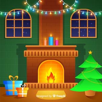 Flat fireplace christmas background