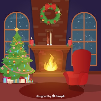 Flat fireplace christmas scene