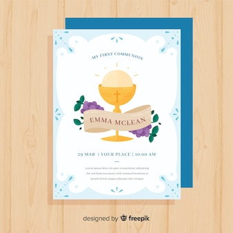 Flat first communion invitation template