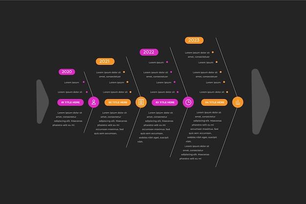 Flat fishbone infographic concept