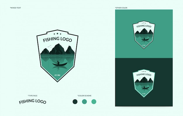 Flat fishing club logo, logytype of fishing tournament concept