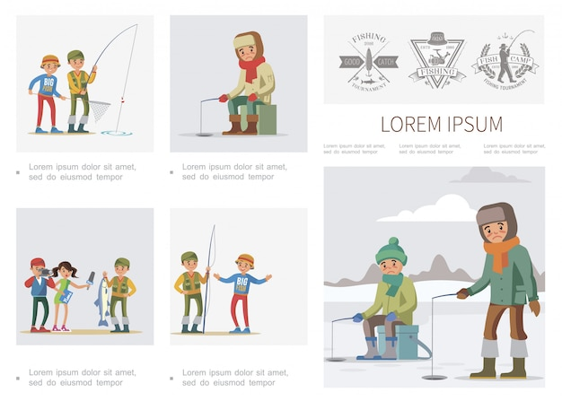 Flat fishing infographic template with summer and winter fishing fishers journalist interview fisherman who caught big fish