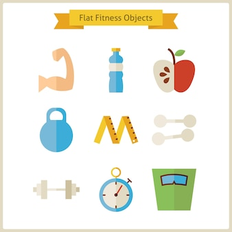 フラットフィットネスとダイエットオブジェクトセット。ベクトルイラスト。白で隔離される健康的なライフスタイルオブジェクトのコレクション。スポーツ活動ジムのトレーニングとエクササイズ