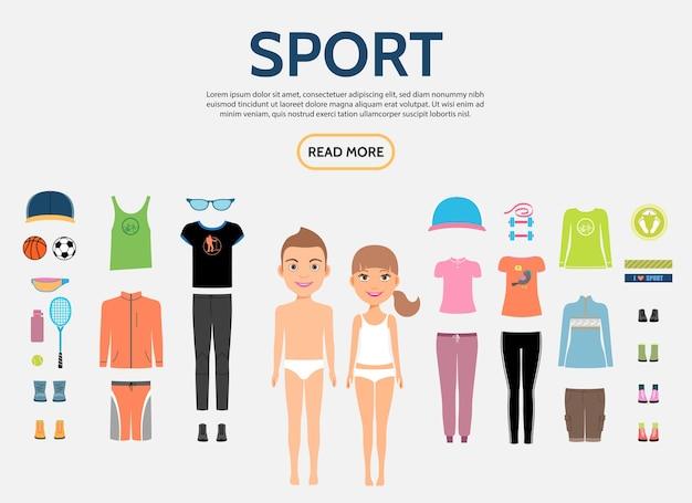男性と女性のスポーツ服スニーカーサングラスとフラットフィットネスキャラクターコンストラクターコンセプト