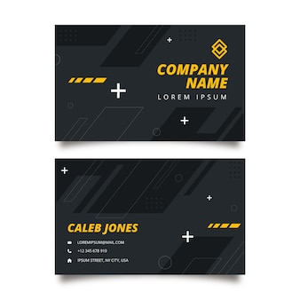 Flat fitness double-sided business card template