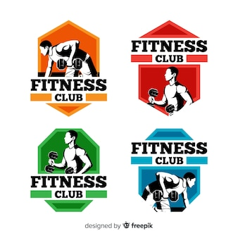 Flat fitness logo template collection