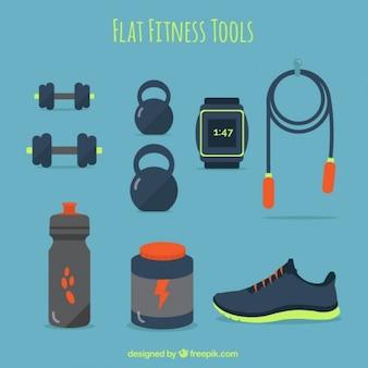 Плоские инструменты фитнес в синий цвет