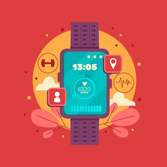 Flat fitness tracker illustration