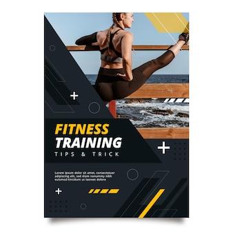 Modello di poster verticale piatto fitness