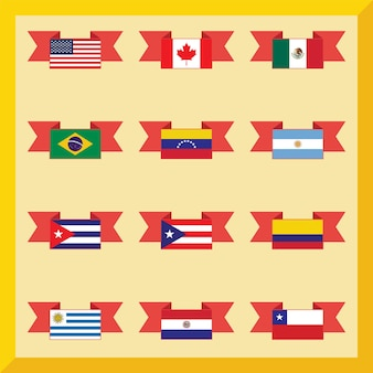 Flat flags, north and south america on yellow background