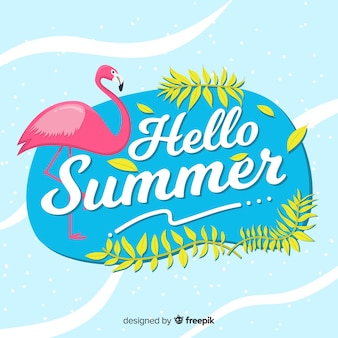 Flat flamingo  hello summer background