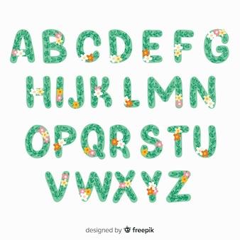 Flat floral alphabet template