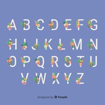 Flat floral alphabet