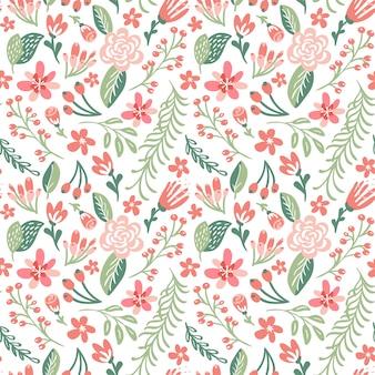 平らな花の背景の春。シームレスなベクターパターンとファッションプリント