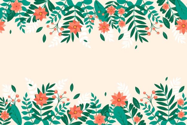수채화 손으로 그린 일러스트와 함께 평면 꽃 배경