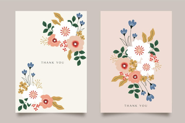 Flat floral cards collection
