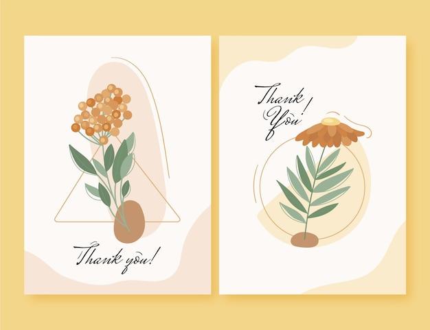 플랫 꽃 카드 컬렉션