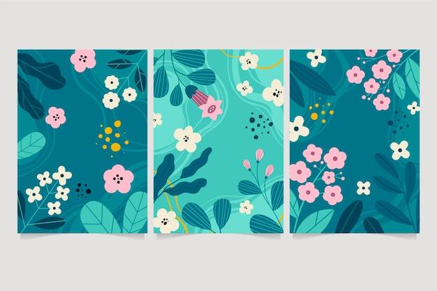 Collezione di carte floreali piatte