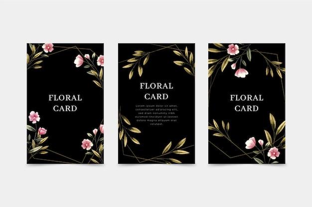 Коллекция плоских цветочных открыток