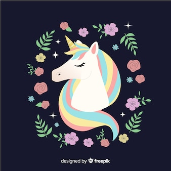 Flat floral cute unicorn background