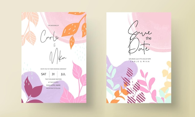Flat floral design wedding invitation with spring leaves