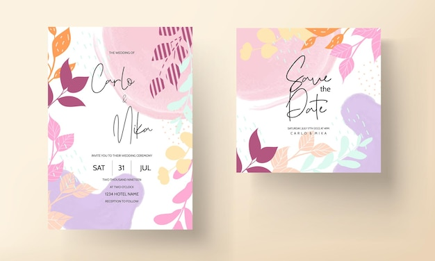 春の葉とフラット花柄の結婚式の招待状