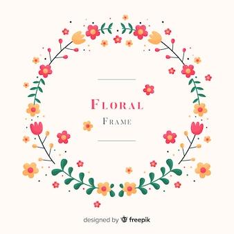 Flat floral frame background