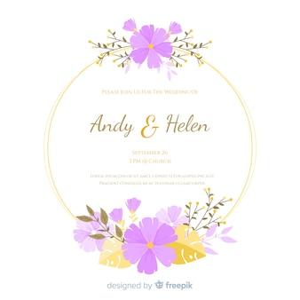 Flat floral frame wedding invitation