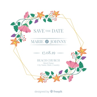 Flat floral frame wedding invitation