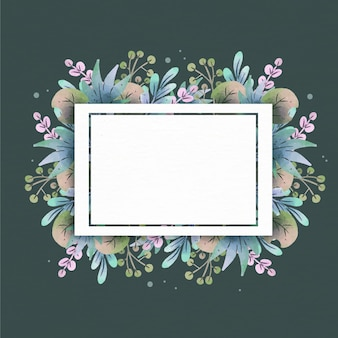 Flat floral frame with empty space