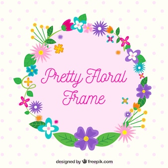 Flat floral frame with variety of flowers